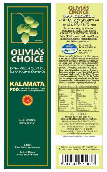 Olivia's Choice Kalamata P.D.O. Extra Natives Olivenöl – 1 Liter